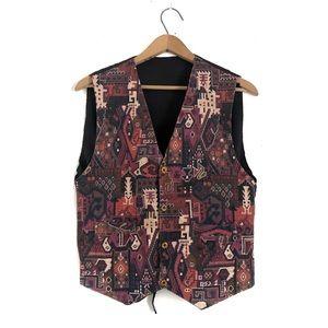 Vintage Turkish Kilim Carpet Vest Mens